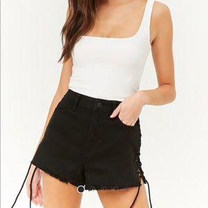 Black tie denim shorts